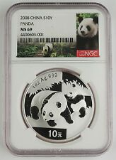 The Cheapest China 2008 1 Oz 999 Silver Panda 10 Yuan Coin NGC MS69 GEM BU Online