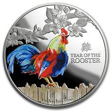 Bargain 2017 NZL 1 oz Proof Silver 2 Lunar Year of the Rooster Color  SKU 103376