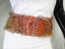 Low Priced WOMEN WAIST WIDE ELASTIC BROWN FASHION BELT WITH LACE DESIGN SIZE S M L