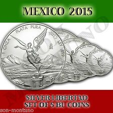 The Cheapest NEW 2015 Mexico SET OF 5 SILVER LIBERTAD BU COINS 11214110120 MINT FRESH Online