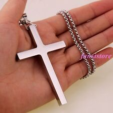 New Fashion Jewelry Stainless Steel Silver Big Cross Men Women Pendant Necklace Under 50