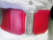 On Sale WOMEN ELASTIC SILVER RHINESTONE BUCKLE RED BRAIDED FASHION SOFT BELT SIZE SL