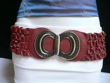 Cheap Price NEW WOMEN HIP WAIST ELASTIC RED RUCHED FASHION BELT METAL BUCKLE 2737 S  M