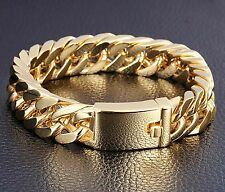 85 14mm 18K Gold Mens Classic Jewelry Stainless Steel Cuban Chain Bracelet Compare Prices
