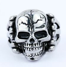 stainless steel men jewelry motor biker bone skull head heavy ring size10 for Sale Online