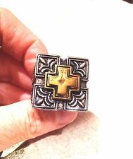 Buy Online Vintage Large Stainless Steel Gold Silver Cross Crest Size 105 Mens Ring
