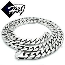 Big SALE 24MEN Stainless Steel HEAVY 14mm Silver Cuban Curb Chain Necklace BraceletNB15