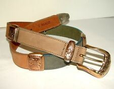 Buy Vintage BRIGHTON Belt Multi Color Leather Gold Silver Buckle Ladies Size S with Paypal