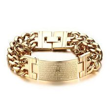 Low Cost 22mm Yellow Gold Biblical Cross Cuban Chain Mens Bracelet Bangle Stainless Steel