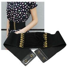 Stylish Women Lady Girls Rivet Elastic Wide Waist Belt Waistband Corset Black for Sale
