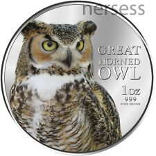Get Cheap Niue Island 2013 Great Horned Owl 2 Pure Silver 1 Oz Colored Proof Coin