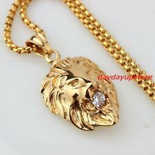 For Sale Gold Tone Fashion Mens Cast Lion Biker 316L Stainless Steel CZ Pendant Necklace