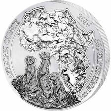 Big SALE 2016 Rwanda MEERKAT 1oz Silver 999 African Wildlife Bullion Coin BU