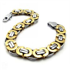 Buying Fashion 8mm Mens Stainless Steel Silver Gold Flat Link Chain Bracelet 866