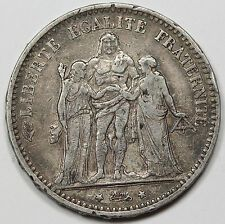 Buying 1874 A Republic of France 5 Francs Silver Crown Coin VFXF Hercules  Friends