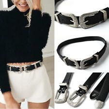 Best Price Womens Lady Vintage Metal Boho Leather Punk Double Buckle Waistband Waist Belt