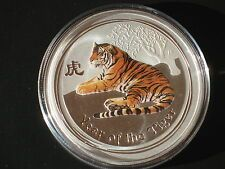 Promo Offer 2010 AUSTRALIAN LUNAR YEAR OF THE Tiger 12 oz SILVER COIN COLOR