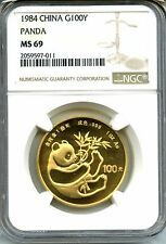 Best Price CHINA 1984  PANDA  GOLD   NGC MS 69    1  OZ    100 YUAN   RARE    RED HOT
