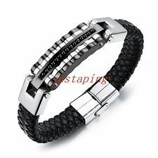 SALE Fashion Mens Genuine Leather Stainless Steel Silver Wristband Bracelet Bangle