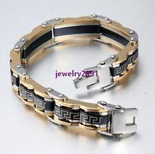 Big SALE fashion jewelry black gold 100 stainless steel mens biker bracelet 12mm866