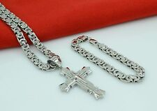 Buying 24MEN Stainless Steel 8mm Silver Necklace Star Cross Pendant Chain Bracelet Set