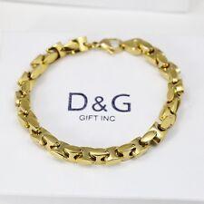 DG Mens 85 Gold Stainless Steel7mm Link Chain BraceletUnisex  Box for Sale