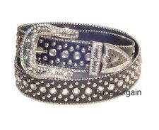 Buying New listing   New Women Western Rhinestone Bling Black Leather Stud Snap On Buckle Belt L
