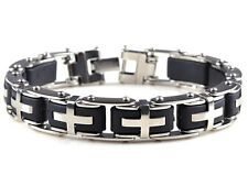 New Stainless steel mens Silver Bangle Chain Link Cool Cross Bracelet Gift On Line