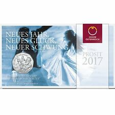 For Sale 2017 Austria 5 Euro Silver BU New Year Coin Message With a Melody Blue Danube