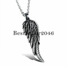 Vintage Stainless Steel Angel Wing Feather Pendant Necklace Mens Womens Gift for Sale Online