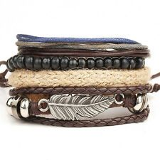 Buy Vintage Mens Braided Leather Stainless Steel Cuff Bangle Bracelet Wristband FT Online