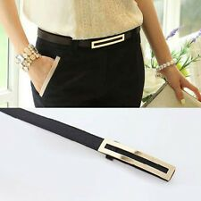 PU Leather Womens Lady Skinny Narrow Thin Buckle Waist Belt Waistband Strap New Under 50