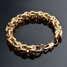 SALE Solid 18K Gold Plated Bracelet Charm Mens 9mm Chain Fashion Jewelry Party Gift