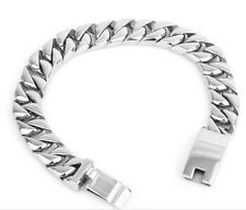 Best Reviews 14mm 866 Silver Stainless steel Cuban Curb Chain Bracelet Mens Bangle Jewelry