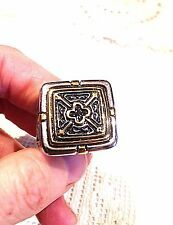 Buying Vintage Large Gold Silver Stainless Steel Cross Crest Size 11 Mens Ring