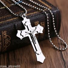 Low Cost Fashion Gift Unisexs Men Silver Stainless Steel Cross Pendant Necklace Chain