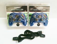 Low Cost 2 NEW Blue Controller Control Pad for Original Microsoft XBOX w 2 Extensions