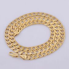 Big SALE Yellow Solid Gold Filled Cuban Chain Necklace 20 7mm Thick Mens jewelry Women