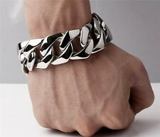 Affordable 85 Rocker Biker Gothic Cuban Curb Stainless Steel Bracelet Chain 25mm 148g