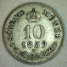 1859 V Austria 10 Kreuzer KM2204 Silver World Coin P for Sale