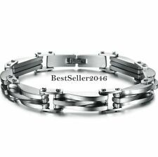 Cheap Price Silver Tone Stainless Steel Link Chain Mens Cuff Bracelet Bangle 866 Inches