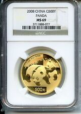 Buy Online CHINA  PANDA 2008  NGC MS 69  500YUAN  GOLD 1 OZ