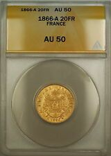Buy 1866A France 20 Fr Francs Gold Coin ANACS AU50 Online