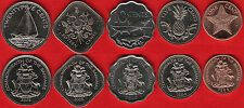 Discounted Bahamas set of 5 coins 1  25 cents 19842010 UNC