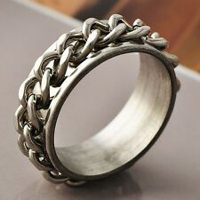 Mens Unique Stainless Steel Link Chain Band Ring Size 10 Free Shipping Cheap