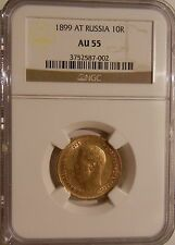 Low Priced 1899 AT RUSSIA 10 ROUBLE GOLD 14 OZ NGC AU55