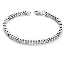 Buy 9 New Cool Silver 4mm Stainless Steel Box Chain Bracelet For Men N924 Online