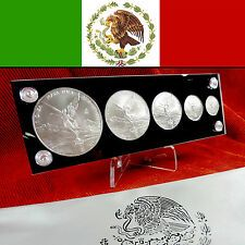 Discounted 2013 MEXICO  Silver Libertad 5 Coin BU Set in Holder  Pouch 1 Oz  Fractionals