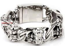 Get Cheap Vintage Silver Black 316L Stainless Steel Mens Heavy Biker Skull Link Bracelet