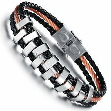 Get Cheap Gold Tone Stainless Steel Rope Braided Black Leather Wristband Mens Bracelet